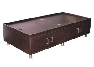 Leaf Textured Brownish Black Storage Single Bed