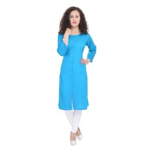 Glorious Moment A-line Cotton Kurti(code-glorious-72 -blue)