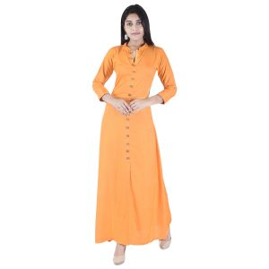 Glorious Moment A-line Cotton Kurti(code-glorious-427-orange Rayon))