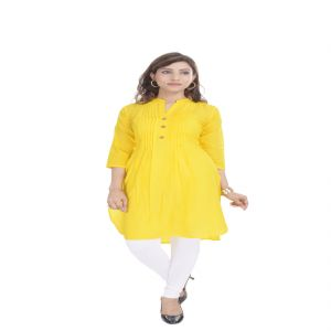 Glorious Moment A-line Cotton Kurti(code-glorious-71-yellow)