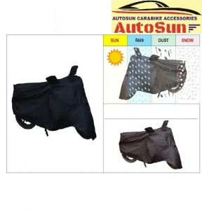 Autosun-hero Glamour Pgm Fi Bike Body Cover With Mirror Pockets - Black Code - Bikecoverblk_17