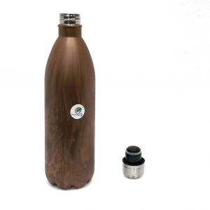 Graminheet Stainless Steel Hot & Cold Water Bottle 750ml With Wooden Finish