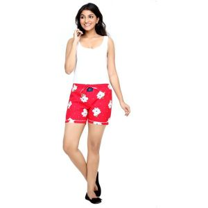 London Bee Red Printed Womens Boxer - Code(WLB0013)