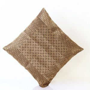 Pillow Covers - Jodhaa Cushion Cover With Brocade In Black/Gold