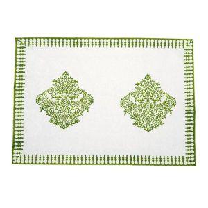 Jodhaa 100% Cotton White-Green Table Mats (Set Of 8) (Code - 21TBMA050)