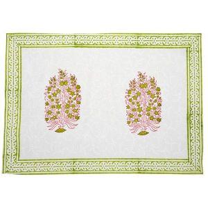 Jodhaa 100% Cotton White-Green Table Mats (Set Of 8)
