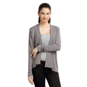 Shrugs, Short Jackets - Loco En Cabeza Solid Dyed Grey Viscose Shrug Top-(Product Code-CZWT0069)