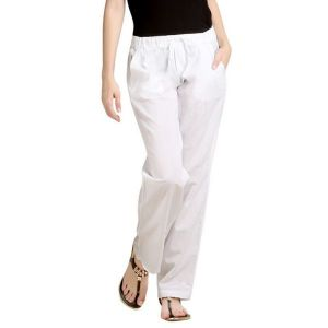 Loco En Cabeza Elastic Waist White Color Linen Casual Drawstring Pant-(Product Code-CZWP0007)