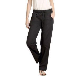 Loco En Cabeza Elastic Waist Black Color Linen Casual Drawstring Pant-(Product Code-CZWP0009)