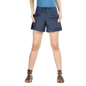 Loco En Cabeza Navy Cotton Linen Womens Short-(Product Code-CZWSH0001)
