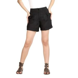 Loco En Cabeza Black Cotton Linen Womens Short-(Product Code-CZWSH0003)