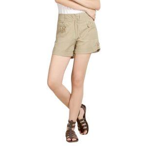Loco En Cabeza Beige Cotton Linen Womens Short-(Product Code-CZWSH0004)