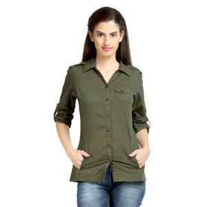 Loco En Cabeza Solid Olive Cotton Womens Long Sleeve Shirt -(Product Code-CZWT0059)