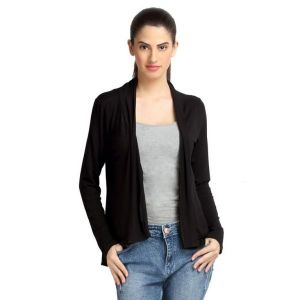 Loco En Cabeza Solid Dyed Black Viscose Shrug Top-(Product Code-CZWT0068)