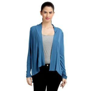 Loco En Cabeza Solid Dyed Blue Viscose Shrug Top-(Product Code-CZWT0070)