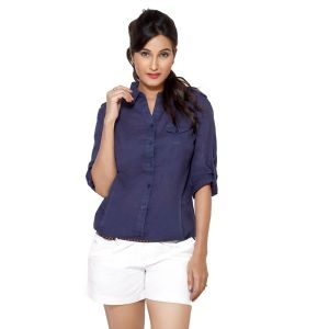 Loco En Cabeza Solid Navy Cotton Womens Long Sleeve Shirt For Women - (Product Code - CZWT0003)