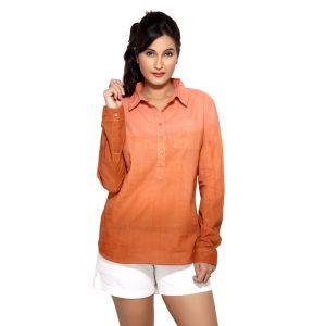 Loco En Cabeza Peach Tonal Cotton Womens Long Sleeve Shirt For Women - (Product Code - CZWT0006)