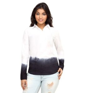 Loco Encabeza White Tonal Cotton Womens Long Sleeve Shirt For Women - (Product Code - CZWT0008)