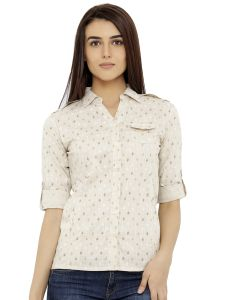 Loco En Cabeza Printed Beige Cotton Womens Long Sleeve Shirt (Code - CZWT0125)