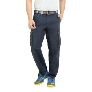 Cargos (Men's) - London Bee Mens Cotton Navy Solid Cargo Pant - (Product Code - MFPLB0010)