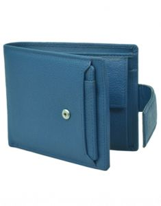 Hidelink Men Blue Genuine Leather Wallet (9 Card Slots)