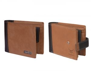 Hidelink Men Tan Genuine Leather Wallet (swp19084)