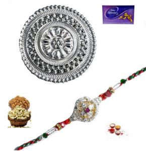 Rakhi Online - American Diamond Ad Rakhi For Brother With Silver Box