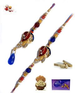 Rakhi Online-one Rakhi For Bhaiya And One Lumba For Bhabhi Rakhi Set Only