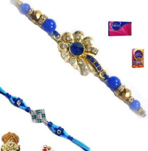 Exclusive Pair Of Blue Stone And Silver Rakhi
