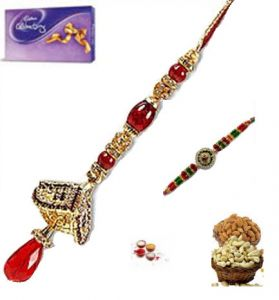 Rakhi Online - Exclusive Diamond Bhaiya Bhabhi Rakhi Set