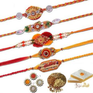 Thread Rakhis (India) - Exclusive Five Beautiful Mauli Rakhi Set
