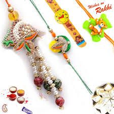 Rakhi Gifts - Pearl And Stone Family Rakhi Set