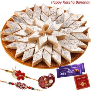 Mithais ,Dryfruits ,Chocolates  - Haldiram Kaju Katli With Beautiful Rakhi