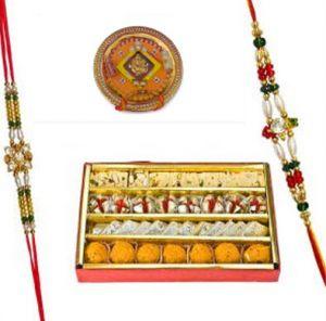 Rakhi Mithais (India) - Rakhi Gifts - Haldiram's Assorted Sweets With Beautiful Rakhi