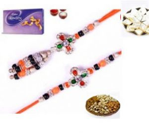 Rakhi Gift - Beautiful Orange And Green Stone Bhaiya Bhabhi Rakhi Set