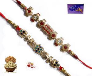 Rakhi Online - Eye Wishing Designer Rakhi - Set Of Two
