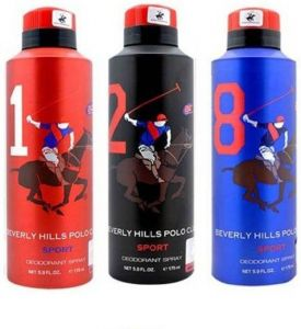 Beverly Hills Polo Club Sport Deo No. 1, 2, 8 Deodorant Spray - For Men  (525 Ml, Pack Of 3)