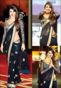 Bikaw Bollywood Sarees - Rcpc Bollywood Replica Black Net Saree Rpb224