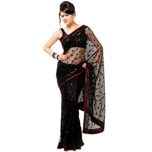 Bikaw Women's Clothing ,Women's Accessories ,Womens Footwear  - Rajshri Fashions Bollywwod Party Designer Saree Net Black Party Embroidered Saree_ Sabwd10013