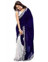 Pr Fashion Heavy Designer Velvet Rasal Net Gota Blue Embroidered Saree With Unstitched Blouse