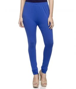 Laabha Womens Cotton Lycra Royal Blue Cotton Stretchable Churidar Legging (code - Lg-101l_l) L