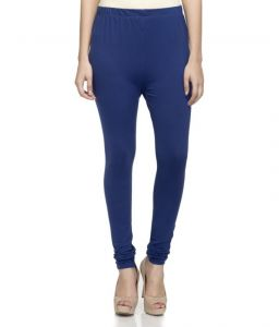 Laabha Womens Cotton Lycra Dark Royal Blue Cotton Stretchable Churidar Legging (code - Lg-116l_l) L
