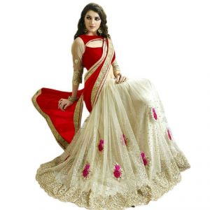 Fab Dadu Designer Red And White Georgette And Net Saree (fv3088 Red)