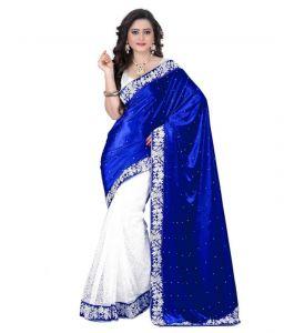 Net Sarees - Vellora Designer Half Half Blue Valvet Embroidered Saree_gfs1697vegf