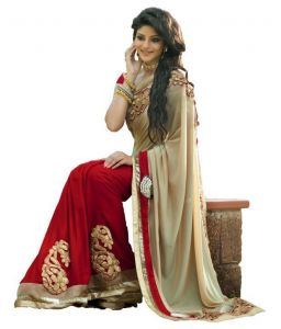 Kalazone Georgette Sarees - Aracruz Beige And Red Color Georgette Beautifull Saree