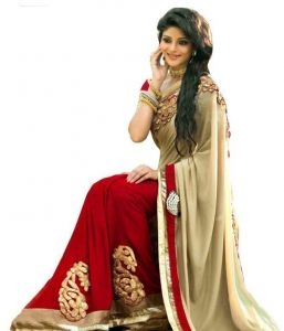 Red & Beige Color Georgette Party Wear Saree By Ethnic Basket