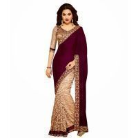 101cart Beige Color Brasso,net,velvet Saree (code_101af-afds013)