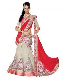 Lehenga sarees - Lavri Red Romance Heavy Embroidered Designer Lehenga Saree