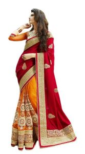 Fabpandora Women's Clothing - Fabpandora Red Color Net Saree - Gss2320