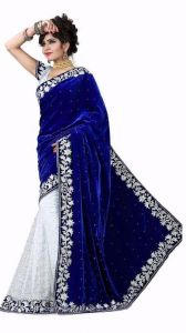 Kalazone Sarees (Misc) - Kazipu Womens Velvet Blue With Brasso White Half & Half Saree With Blouse Piece (code - Pf257)